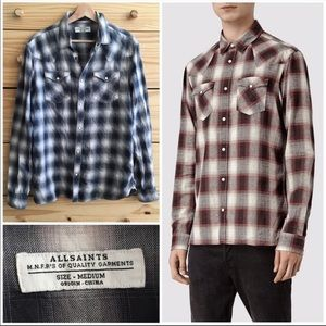 All Saints Men's Checkered Snap Button-Up Shirt M